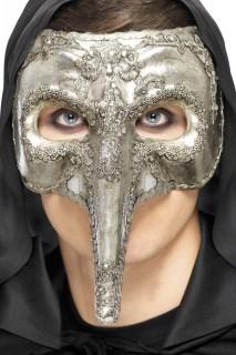 Venezianische Schnabelmaske Halloween Maske silber