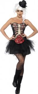 Zombie Halloween Burlesque Korsett schwarz-rot-beige