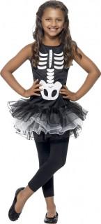Skelett-Tutu Halloween-Kinderkostüm schwarz-weiss