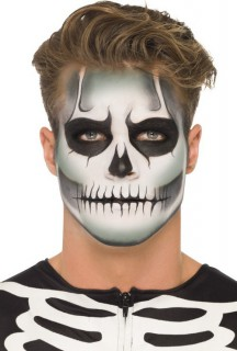 Skull Make-Up-Set Halloween weiss-schwarz 9g
