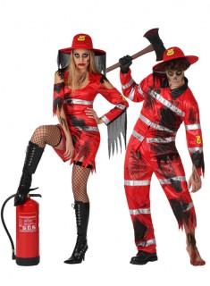 Zombie-Feuerwehrpaarkostüm für Halloween rot-schwarz