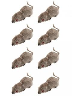 Gruselige Mäuse Halloween Party-Deko 8 Stück grau 6x2,5cm
