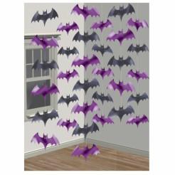 Fledermaus-Girlande Halloween-Deko schwarz-lila 210cm