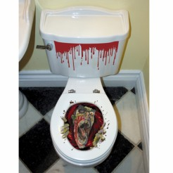 Toiletten-Sticker Zombie Halloween-Deko 3-teilig bunt