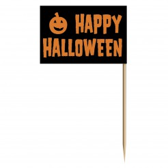 Halloween Zahnstocher Kürbis Minifähnchen 50 Stück schwarz-orange 6,5cm
