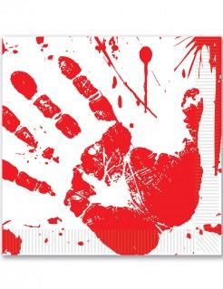 Halloween-Servietten blutige Hand Papierservietten 16 Stück rot-weiss 33x33cm