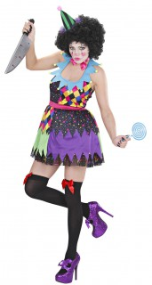 Psycho-Clown Halloween Damenkostüm schwarz-bunt