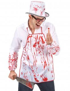 Blutverschmierte Horror-Schürze weiss-rot 65x50cm