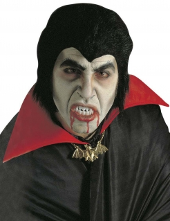 Halloween Dracula-Set für Herren Perücke und Gebiss schwarz-weiss
