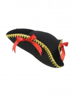 Piratenhut für Damen Dreispitz mit Schleifen schwarz-rot-gold