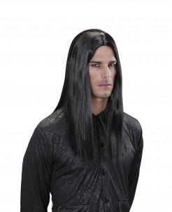 Vampir Herren-Perücke Halloween lang schwarz