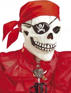 Skelett-Vollgesichtsmaske Pirat für Erwachsene Halloween weiss-schwarz