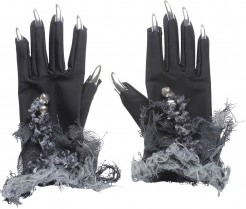 Halloween Handschuhe mit Silber-Nägeln für Erwachsene