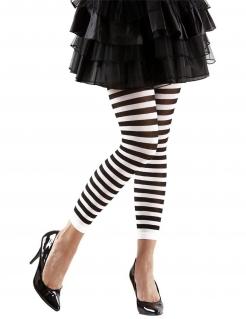 Ringel-Leggings 70 den schwarz-weiß