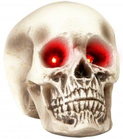 Totenkopf mit Leuchtaugen Halloween-Deko weiss-grau 22 cm