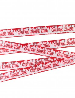 Absperrband Caution: Zombie Zone Halloween-Deko weiss-rot 7,20mx5,6cm
