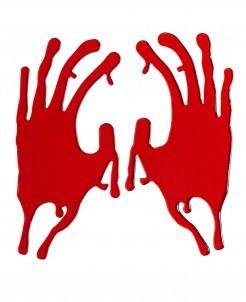 Blutige Hilferufe Hände Halloween Party-Deko rot 26x19cm