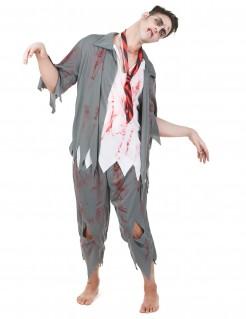 Zombie Schuljunge Halloweenkostüm Uniform grau-weiss-rot