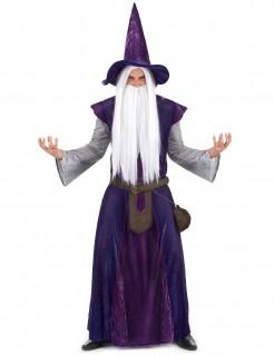 Zaubererkostüm für Herren lila-grau