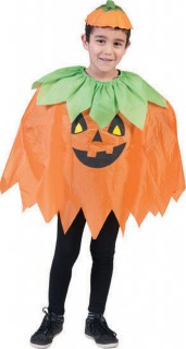 Halloween-Kinderponcho Kürbis-Umhang orange-schwarz-grün