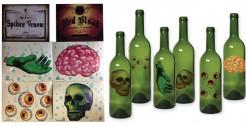 Horror-Aufkleber für Flaschen Halloween-Deko-Set 6 Stück bunt 13,5x11cm