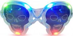 Transparente Leucht-Brille Totenkopf inkl. Batterien Kostümzubehör bunt