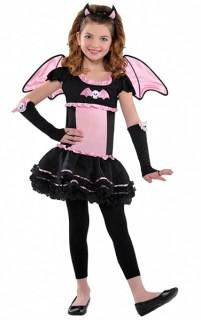 Süsse Fledermaus Halloween Kinderkostüm schwarz-rosa