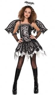 Dunkler Engel Teen-Kostüm schwarz-silber