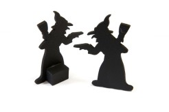 Dekohexen Halloween-Tischdeko 2 Stück schwarz 6x3,5cm