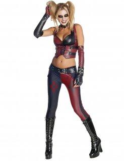 Harley Quinn Damenkostüm Lizenzartikel Batman Arkham City rot-schwarz