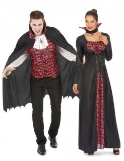 Aristokratische Vampire Halloween Paarkostüm schwarz-rot-weiss