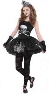 Süsses Zombie-Mädchen Halloween Teen-Kostüm schwarz-silber