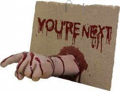 You're next Halloween-Schild mit abgetrennter Hand beige 25x35x25 cm