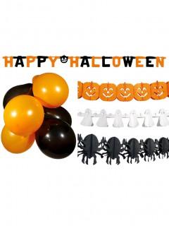 Süsses Halloween Party-Deko Set 14-teilig orange-weiss-schwarz