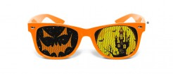 Halloween-Brille Kürbis Kostümaccessoire orange-schwarz-gelb
