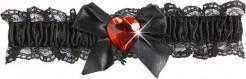 Satin Strumpfband mit Schleife und Herz schwarz-rot