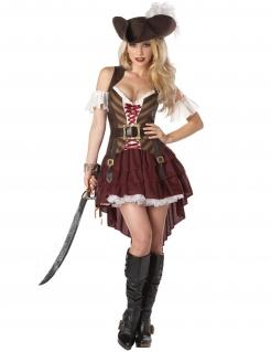 Steampunk-Piratin Damenkostüm Halloweenkostüm rot-braun