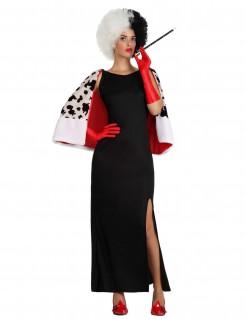 Skrupellose Lady Kostüm für Damen schwarz-weiss-rot