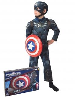 Captain America™ Kinder-Lizenzkostüm mit Schild blau-grau-rot