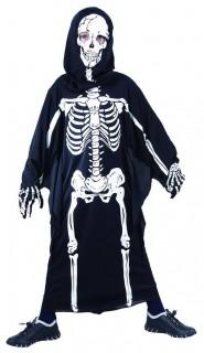 Skelett mit Kapuze Halloween-Kinderkostüm schwarz-weiss