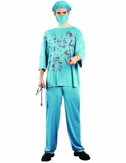 Horror Chirurg Halloweenkostüm Arzt hellblau