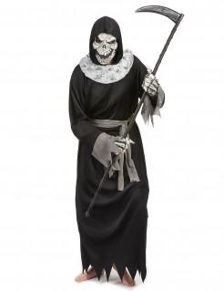 Gruseliger Sensenmann Halloween-Herrenkostüm Tod schwarz-beige-grau