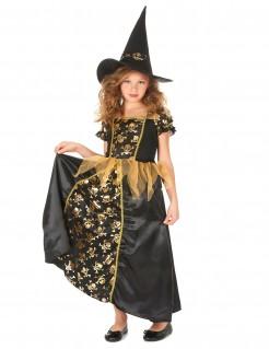Hexenkostüm für Mädchen Halloween-Kostüm schwarz-gold