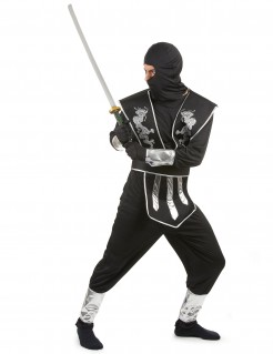 Ninja-Kostüm für Erwachsene Drachen schwarz-silber