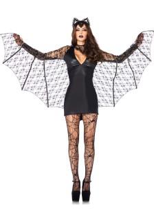 Sexy Fledermauskostüm mit Flügeln Halloween-Damenkostüm schwarz