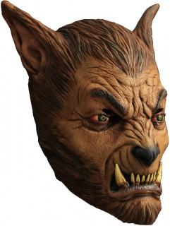 Werwolf Maske mit Zähnen Kostümaccessoire braun