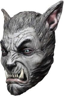 Werwolf Maske mit spitzen Ohren Kostümaccessoire grau