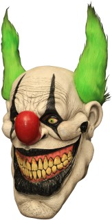 Horror-Clown Maske mit Haaren Halloween Kostümaccessoire beige-rot-grün