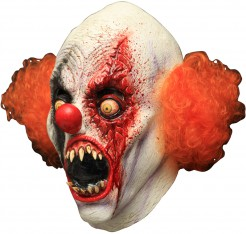 Blutiger Horror-Clown Maske Monsterclown-Maske weiss-rot-orange