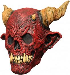 Rote Totenkopf-Maske mit Hörnern rot